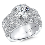 Valina Round halo mounting 1.61 ct. tw., 2 ct. round center.
