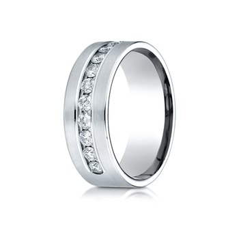 14k White Gold 8mm Comfort-Fit  Channel Set 12-Stone Diamond  Ring (.96ct)