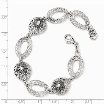 Leslie's Sterling Silver Diamond-cut and Textured Flower Bracelet