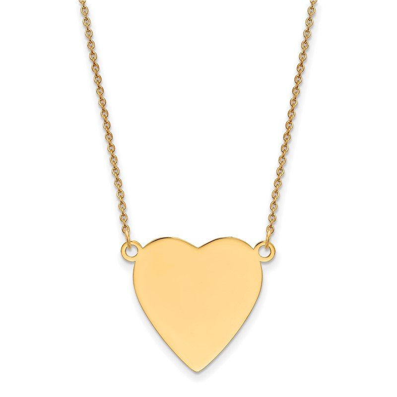 Quality Gold 14k Plain .013 Gauge Heart Engravable Disc 18in Necklace