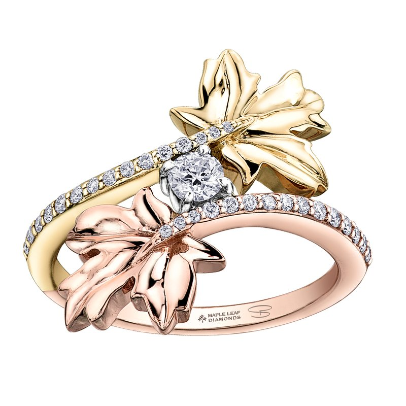 Timeless Beauty Maple Leaf Diamonds™ Bypass Maple Leaf Ladies Ring