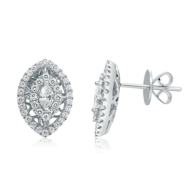 Roman Jules Marquise Cut White Diamond Earrings