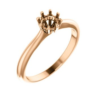 18K Rose 5.2 mm Round 8-Prong Engagement Ring Mounting
