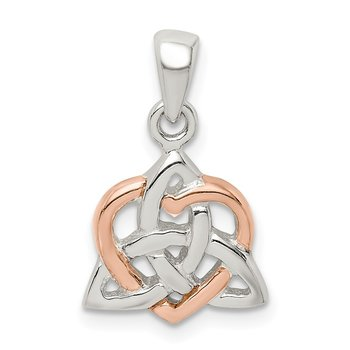 Sterling Silver & Rose Tone Heart Pendant