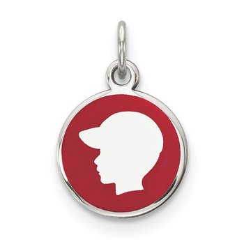 Sterling Silver Rhod-plate Red Enamel Left Facing Boy Head Disc Charm