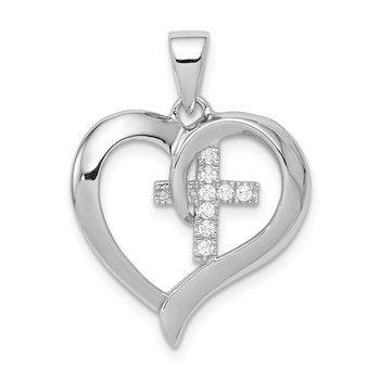 Sterling Silver Rhodium-plated Polished Heart with CZ Cross Pendant