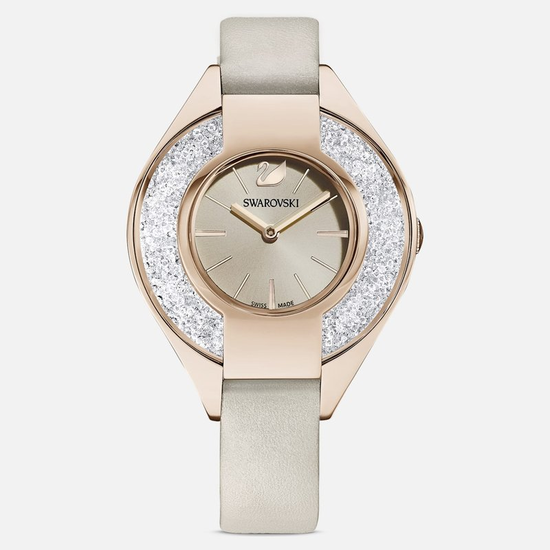 Swarovski Crystalline Sporty Watch, Leather strap, Gray, Champagne-gold tone PVD