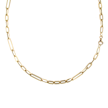 18KT GOLD OVAL LINK LONG NECKLACE