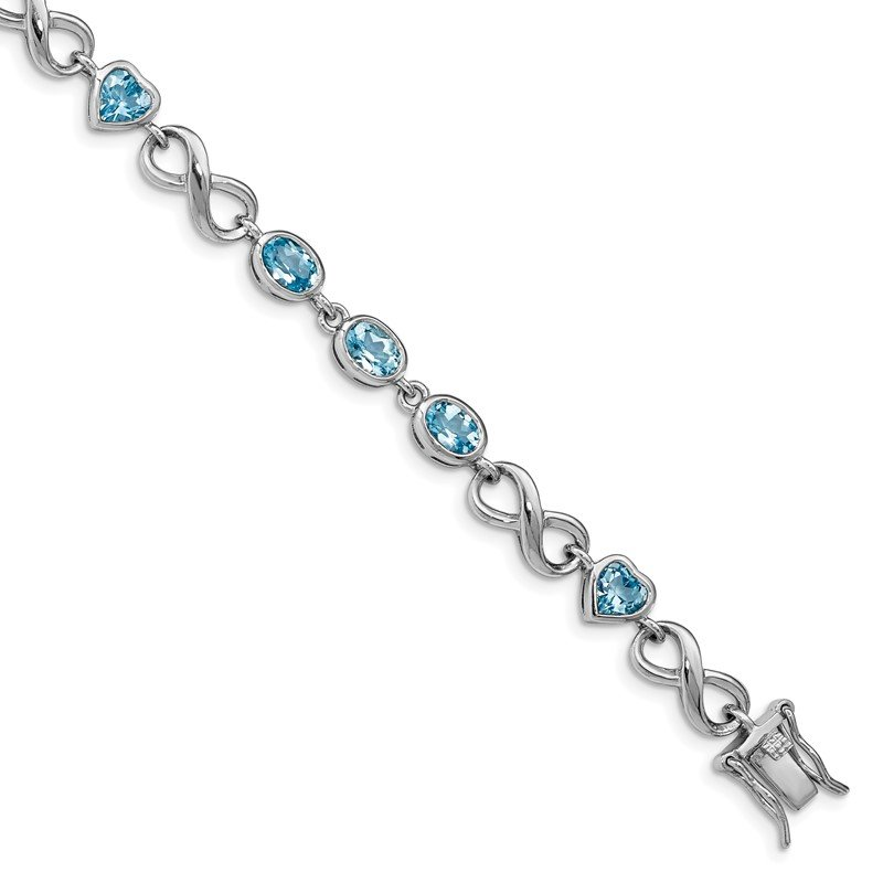 Lester Martin Online Collection Sterling Silver Rhodium-plated Oval Heart Blue Topaz Bracelet