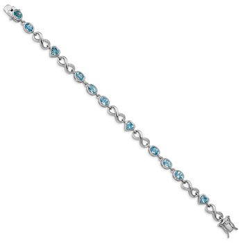 Sterling Silver Rhodium-plated Oval Heart Blue Topaz Bracelet