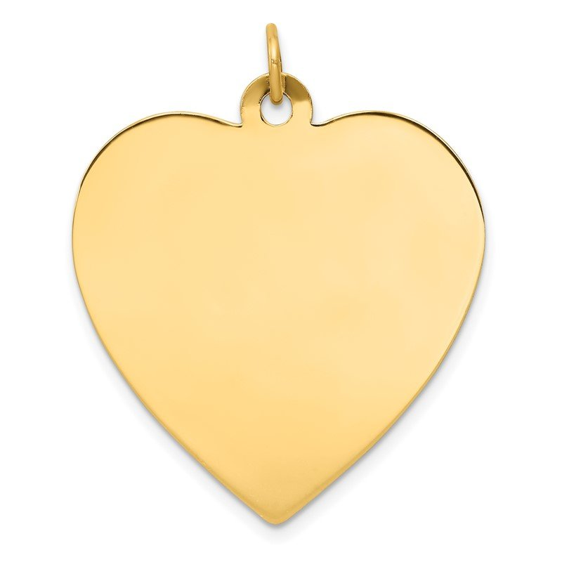 Quality Gold 14k Plain .035 Gauge Engravable Heart Disc Charm