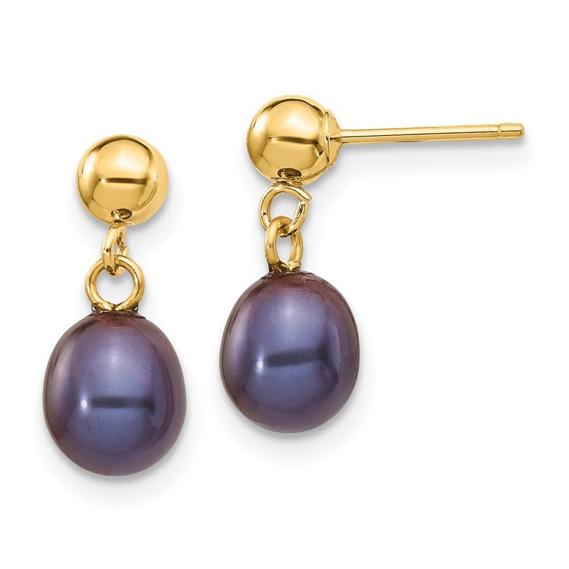 Quality Gold 14k 6-7mm Black Rice Freshwater Cultured Pearl Dangle Post Earrings