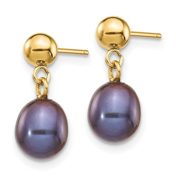 14k 6-7mm Black Rice Freshwater Cultured Pearl Dangle Post Earrings