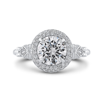 Round Diamond Double Halo Engagement Ring In 18K White Gold (Semi-Mount)