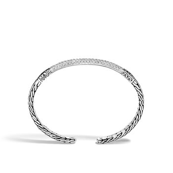 Classic Chain Cuff in Silver with Diamond
