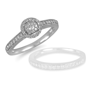 14K WG Diamond Galaxy Engagement Ring 1/3 Outlook Cent