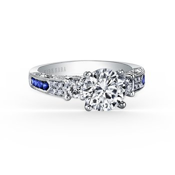 Sapphire Three Stone Diamond Engagement Ring