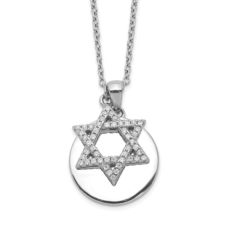 Quality Gold Sterling Silver Rhodium-plated CZ Star of David & Disc w/ 2in ext. Necklace