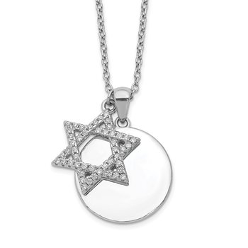 Sterling Silver Rhodium-plated CZ Star of David & Disc w/ 2in ext. Necklace