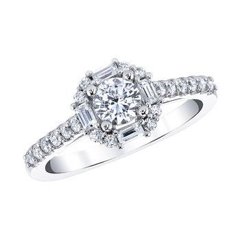 Baguette Halo Engagement Ring by Love Story