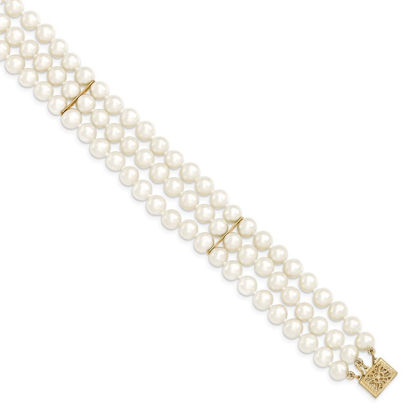 Quality Gold 14k 6-7mm White Near Round FW Cultured Pearl 3-strand Bracelet