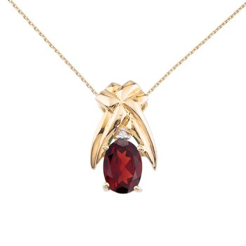 14k Yellow Gold 7x5 mm Garnet and Diamond Oval Shaped Pendant