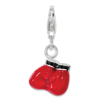 Sterling Silver Polished Enamel Boxing Gloves w/ Lobster Clasp Charm