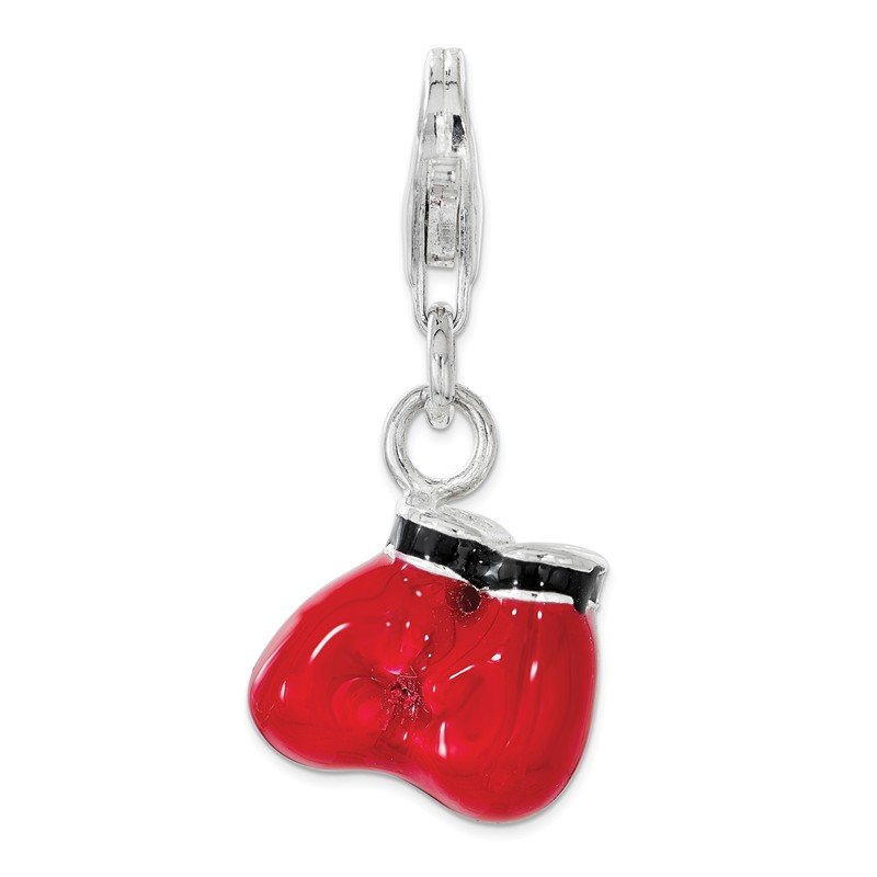 Quality Gold Sterling Silver Polished Enamel Boxing Gloves w/ Lobster Clasp Charm