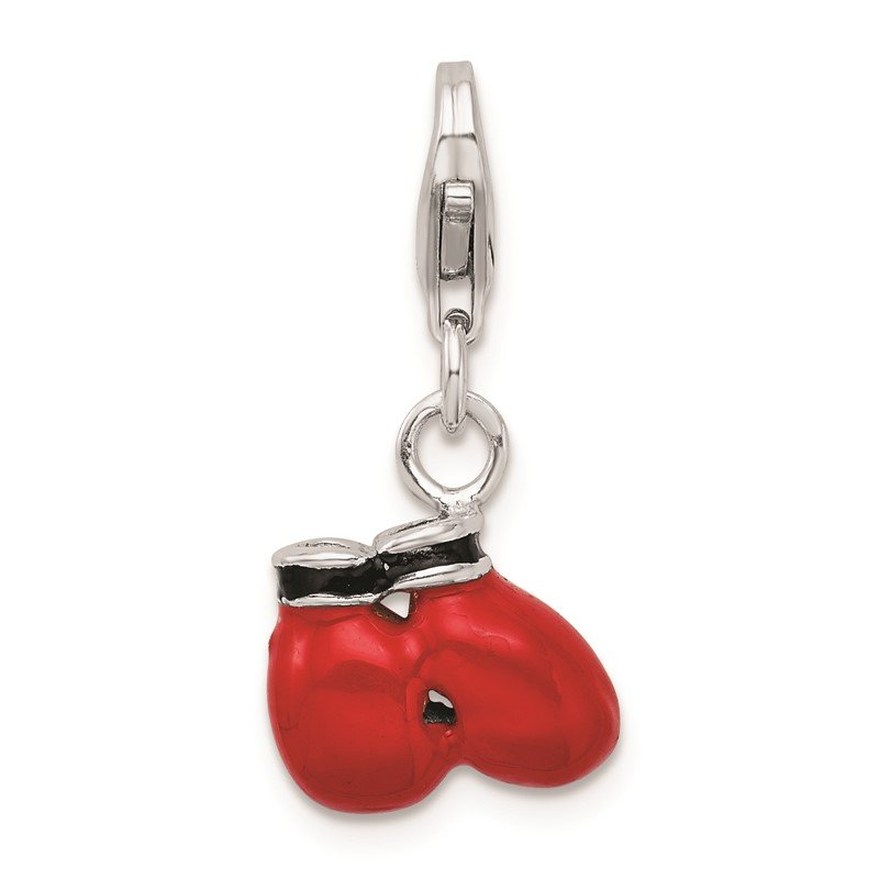 Quality Gold Sterling Silver RH Polished Enamel Boxing Gloves w/ Lobster Clasp Charm