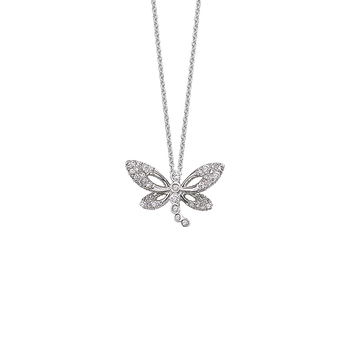 18KT WHITE GOLD DIAMOND BUTTERFLY PENDANT