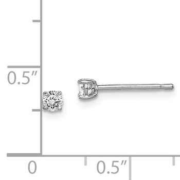 Sterling Silver Rhodium-plated Madi K 3mm Round CZ Stud Earrings