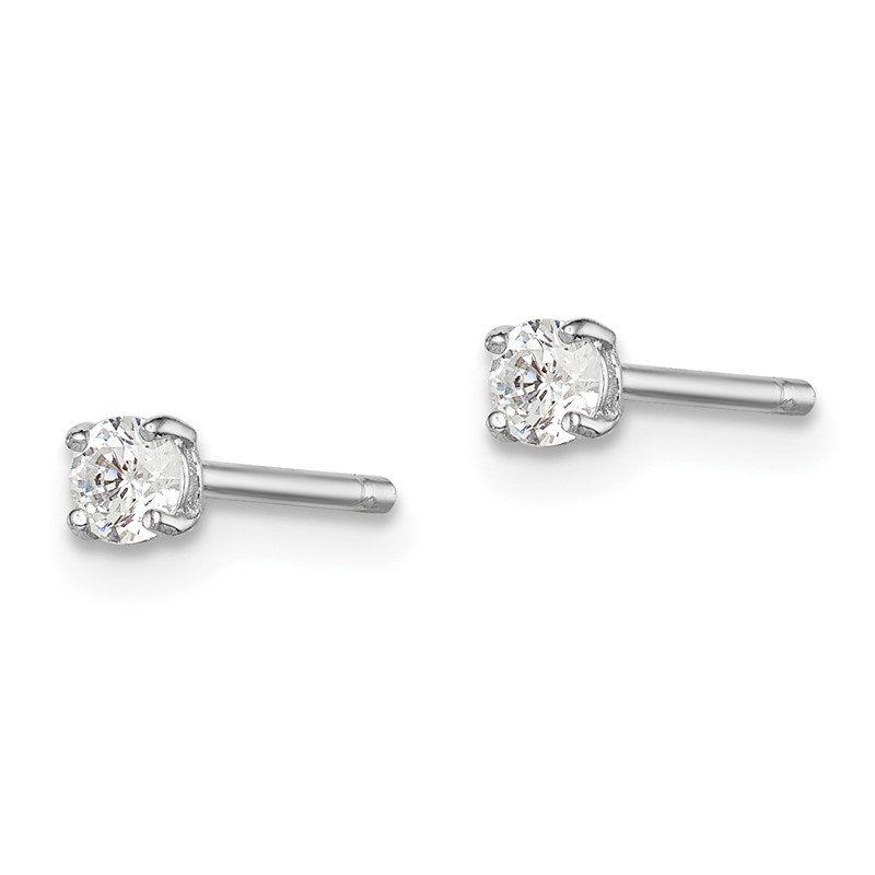 Quality Gold Sterling Silver Rhodium-plated Madi K 3mm Round CZ Stud Earrings