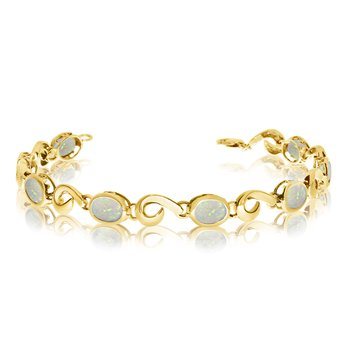 14K Yellow Gold Oval Opal Bracelet