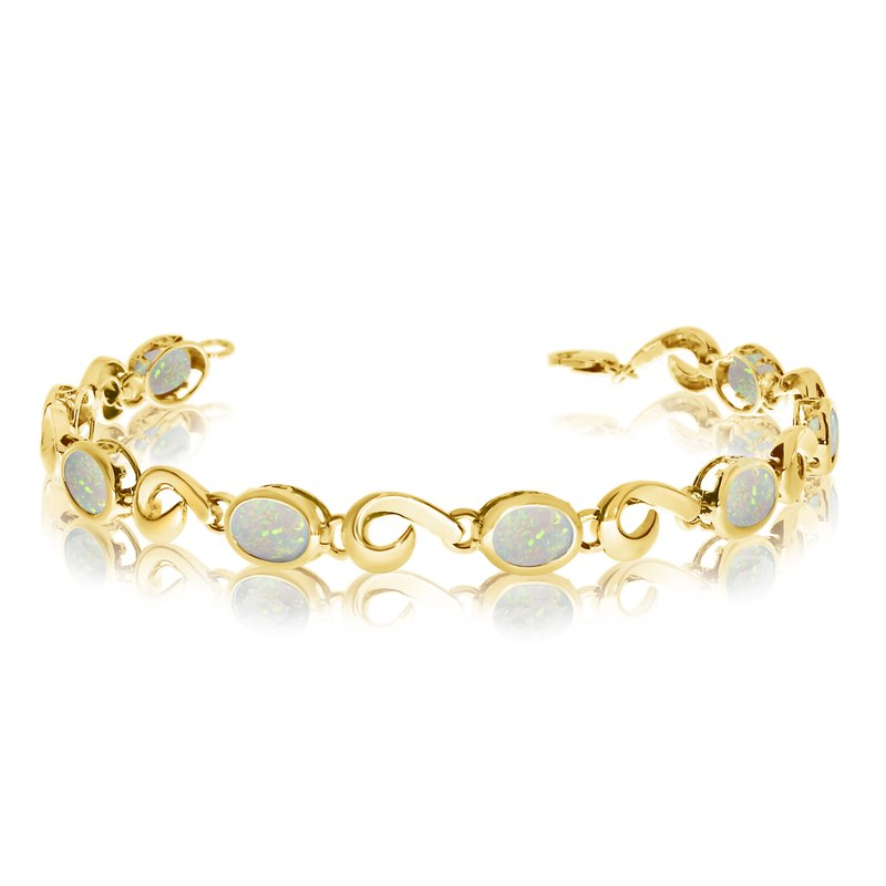 Color Merchants 14K Yellow Gold Oval Opal Bracelet