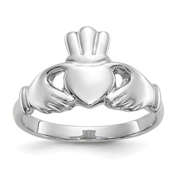 10k White Gold Polished Claddagh Ring