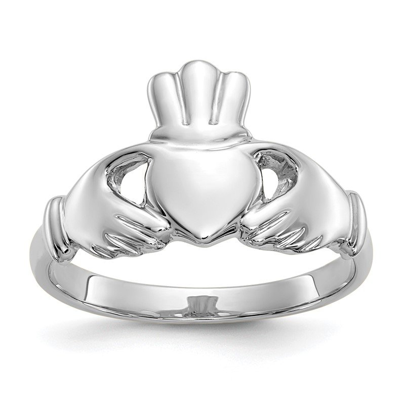 Quality Gold 10k White Gold Polished Claddagh Ring