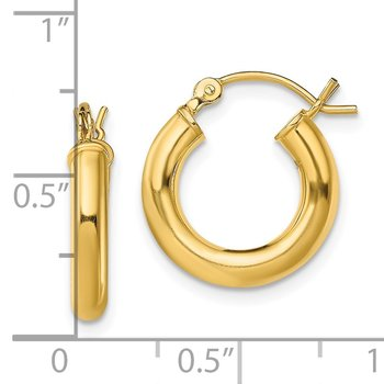 Sterling Silver Gold-Tone Polished 3x15mm Hoop Earrings