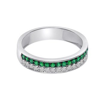 14k White Gold Double Emerald Channel Band
