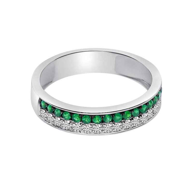 Color Merchants 14k White Gold Double Emerald Channel Band