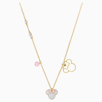 Mickey & Minnie Pendant, White, Gold-tone plated