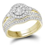 Gold-N-Diamonds, Inc. (Atlanta) 14kt Yellow Gold Womens Round Diamond Cluster Bridal Wedding Engagement Ring Band Set 1.00 Cttw