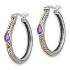 Quality Gold Sterling Silver w/ 14k Amethyst Hinged Hoop Earrings