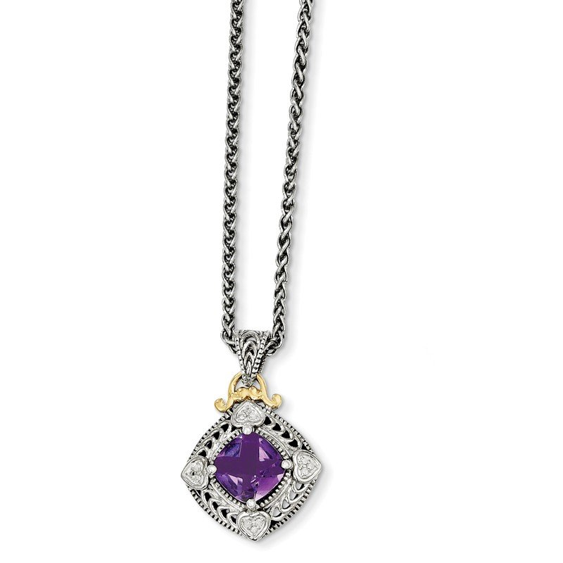 Shey Couture Sterling Silver w/14k Diamond & Amethyst Necklace
