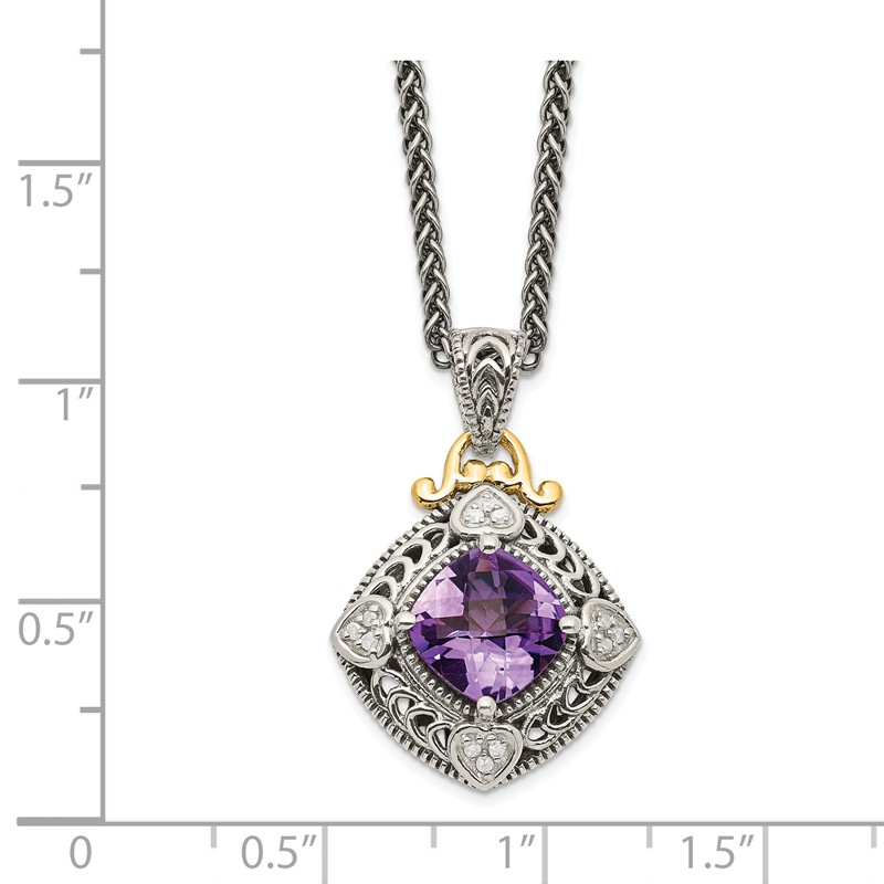 Shey Couture Sterling Silver with 14k Diamond and Amethyst Necklace One Size