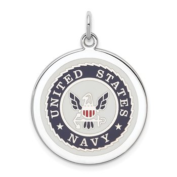 Sterling Silver Rhodium-plated US Navy Disc