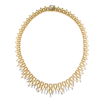 18KT GOLD SMALL BIB NECKLACE WITH DIAMONDS