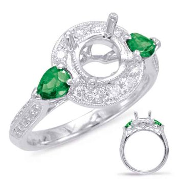 White Gold Tsavorite & Diamond Halo ring