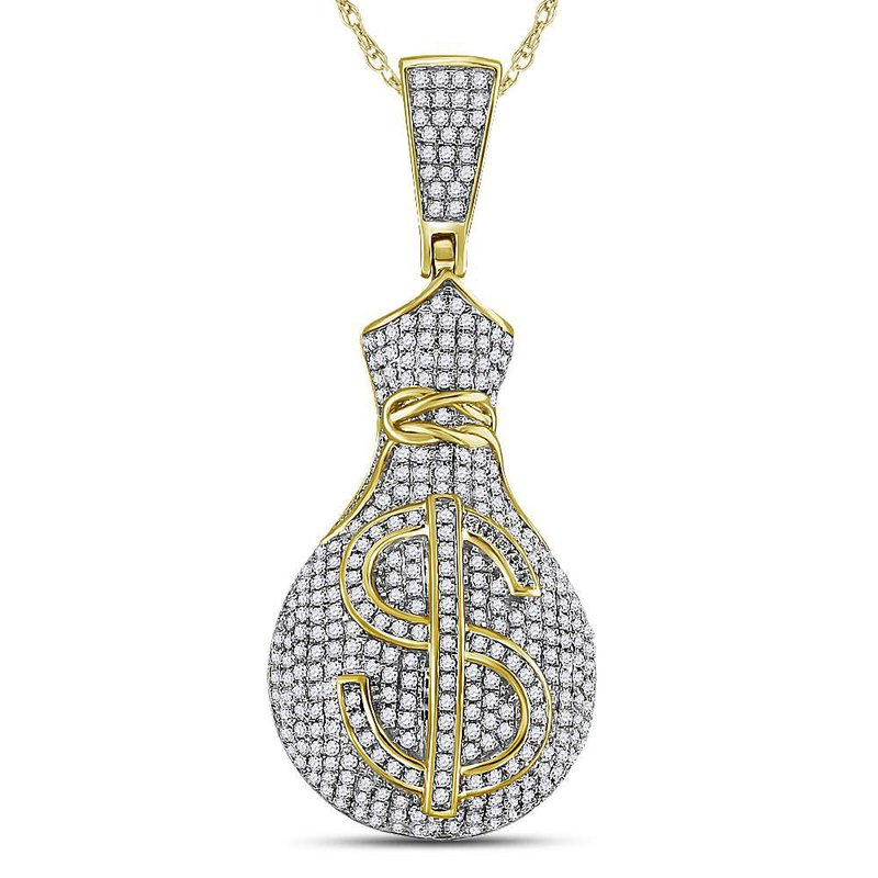 Gold-N-Diamonds, Inc. (Atlanta) 10kt Yellow Gold Mens Round Diamond Money Bag Dollar Sign Charm Pendant 1.00 Cttw