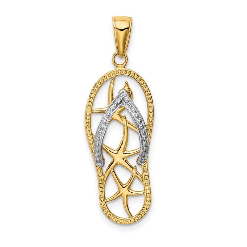 Quality Gold 14K Two-tone Starfish Flip-Flop Pendant