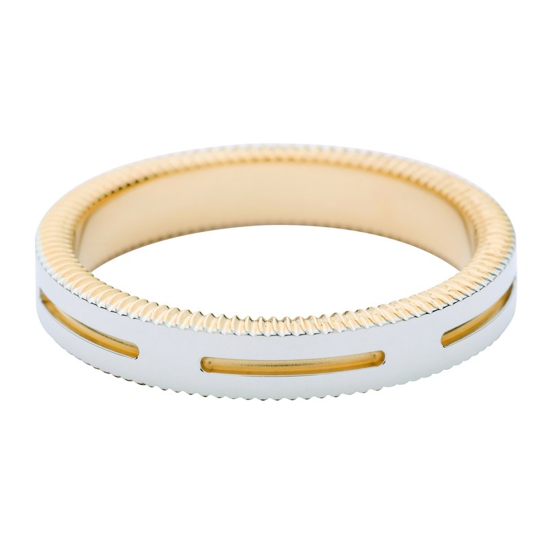 per Amoré Quoin edge polished band w/horizontal cuts